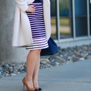 J. Crew Navy Blue Striped Pencil Skirt